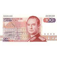 Люксембург 100 франков 1980 UNC