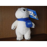 ОЛИМПИЙСКИЙ белый медведь с шарфиком , 20 см ( оригинал ) Сочи 2014