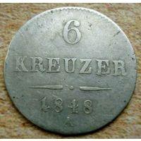 Австрия. 6 крейцеров 1848 года .