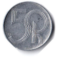 """Чехия. 50 геллеров. 1993 г. Отметка монетного двора: """"HM"""" (замок) - Гамбург, Германия"""