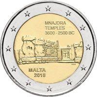 2 евро 2018 г. Мальта  Храмы Мнайдры. UNC из ролла