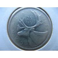 Канада 25 центов 1957 г. (квотер) серебро