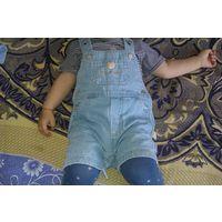 Песочник джинсовый / шортики джинсовые на лямках, рост 74-80 см (Германия)