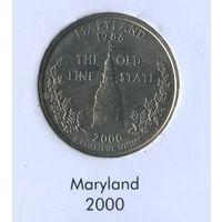25 центов США 2000 г. штат Мэрилэнд D
