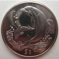 Британские Виргинские острова 1 доллар 2005 г. Дельфины