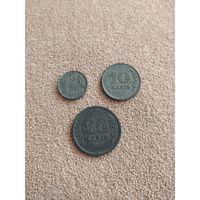 Нидерланды НАБОР 3 монеты 1941-1942 ВТОРАЯ МИРОВАЯ ВОЙНА