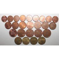 Евроценты, разные годы. XF. набор 25 шт