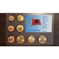 Пробный Евро Набор-1 Цент-2 Евро-Албания-2008-АЦ+сертификат