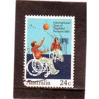 Австралия.  Mi:AU 766.  Год инвалидов. Баскетбол на инвалидных колясках. 1981.