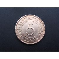 """Маврикий. """"Британская колония"""" 5 центов 1957 год  КМ#34"""