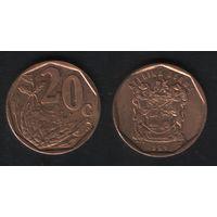 Южная Африка (ЮАР) km162 20 центов 1996 год (b06)