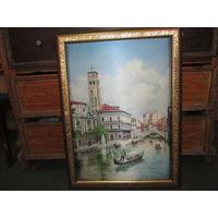 Картина Венеция,шелкография,в красивой раме.