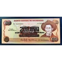 РАСПРОДАЖА С 1 РУБЛЯ!!! Никарагуа 200000 кордоба надпечатка на 1000 1985 год UNC