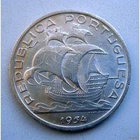 Португалия. 10 эскудо 1954 год. Серебро.