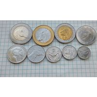 Алжир 100-1/4 динара 2018г.Животные. 9 монет. Цена за все.