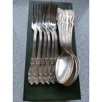 Ложки с вилками, мельхиор, серебрение 12 шт.
