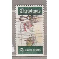 Рождество лошади без правой перфорации  США 1969 год лот 1063 можно раздельно