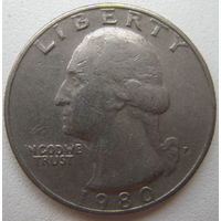 США 25 центов (квотер) 1980 г. P
