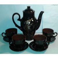 Чайный сервиз,фаянс или высококачественная керамика,рисунок позолотой,СССР