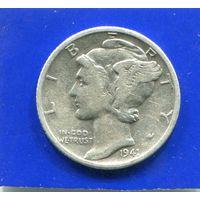 США 10 центов 1941 , серебро , Mercury Dime