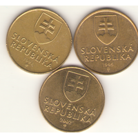 1 крона 1993, 1995, 2002 г. Словацкая республика.