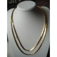 Красивая двух рядная цепочка с покрытием под золото.