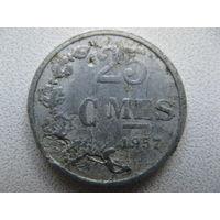 Люксембург 25 сантимов 1957 г.