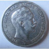 Германия. 5 марки 1907. Пруссия. Вильгельм II. Серебро. 436