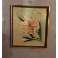 Картина Лилия Цветок масло двп 38 см х 33 см