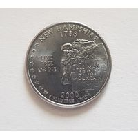 25 центов США 2000 г. штат Нью Хэмпшир P