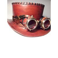 Шляпа и гогглы в стиле стимпанк ручной работы