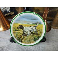 Красивая тарелка охота Фарфор Клеймо Роспись Деколь