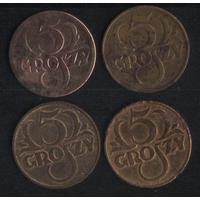 Польша 5 грошей 1923,1935,1938 г. (*). Неплохие!!! Цена за 1 шт.!