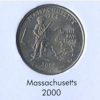 25 центов США 2000 г. штат Массачусетс D