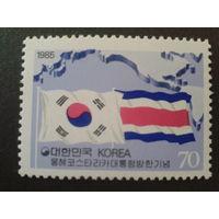 Корея Южная 1985 Визит президента Коста-Рики, флаги