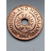 Родезия и Ньясаленд 1 пенни 1961