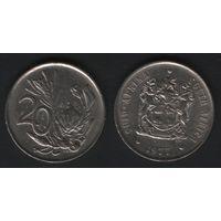 Южная Африка (ЮАР) _km86 20 центов 1977 год (b06)
