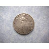 Румыния 1 лей 1910 г. (король Кароль I), серебро