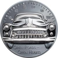 """Острова Кука 10 долларов 2021г. """"Классический автомобиль - Открытые дороги Black Proof"""". Монета в капсуле; подарочной рамке; сертификат; коробка. СЕРЕБРО 62,20гр.(2 oz)."""