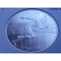 """Острова Кука 10 долларов 1990 """"XXV Олимпийские игры в Барселоне""""серебро."""