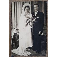 Свадебное фото. Польша 1947 г. 8.5х13.5 см.