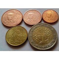 Набор евро монет Франция 2012 г. (1, 2, 5, 10 евроцентов, 2 евро)