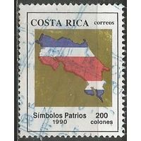 Коста-Рика. Карта страны в цветах Национального флага. 1990г. Mi#1374.