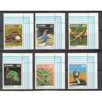 Заир Змеи рептилии 1986 год чистая полная серия из 6-ти марок