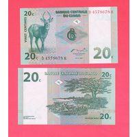 Банкнота Конго 20 сантимов 1997 UNC ПРЕСС антилопа