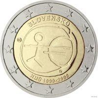 2 евро 2009 Словакия 10 лет евро UNC из ролла