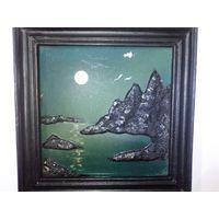 Картина объёмная на керамической плитке, старая, склы выпуклы, состояние на фото, наверное ручная работа