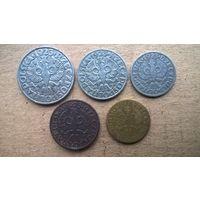 Польша 2,5,10,20,50 грошей 1923г. (D-4,Б-4)