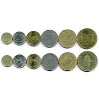 ВЕНГРИЯ 1, 2, 5, 10, 20, 100 ФОРИНТОВ 1993-1995 6 МОНЕТ KM 692-698 латунь, медно-никель