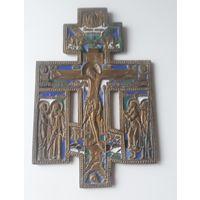 Крест Распятие Христово с предстоящими эмали 5 цветов